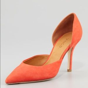 {VINCE.} Celeste d'Orsay Pointed Toe Pump Coral